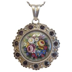 Antique Micro Mosaic pendant, silver 800, 19th century