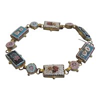 Antique Micro Mosaic link bracelet, gold plate, 19th century