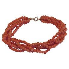 Antique natural orange  Coral bead bracelet,