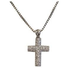 Vintage Zirconia cross pendant, 14k white gold, ca. 1960