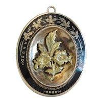 Antique black Enamel locket, gilt silver, 19th century
