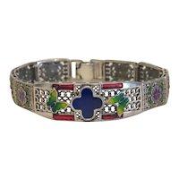 Art Deco enamel bracelet, silver 925, ca. 1930