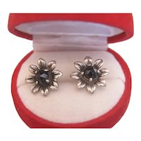 Antique Garnet stud earrings, silver 800, 19th century