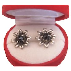 Antique Garnet stud earrings, silver 800, 19th century