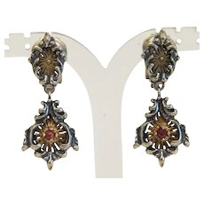 Antique Garnet clip earrings, silver 835,19th century