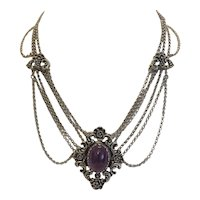 Vintage Amethyst necklace signed Blachian, silver 800, ca. 1950