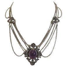 Vintage Amethyst necklace signed Blachian, silver 800, ca. 1950