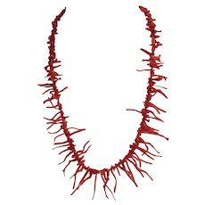 Vintage orange red natural Coral necklace, ca. 1950