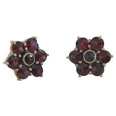 Antique Bohemian Garnet stud earrings, 19th century