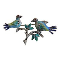 Antique Enamel bird brooch, silver 800, 19th century