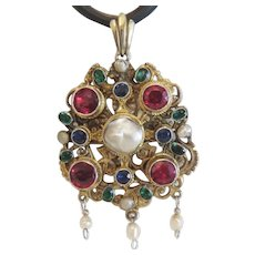Antique Baroque Pearl Gilt Silver pendant, 19th century
