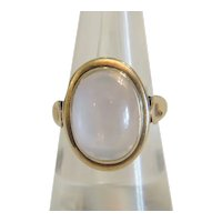 Antique Moonstone cabochon ring, 14 k yellow gold, 19th century