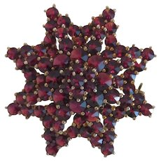 Antique Bohemian Garnet brooch, ,gilt silver, 19th century