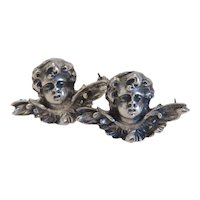 Antique Cherub scatter brooch, silver 800, 19th century