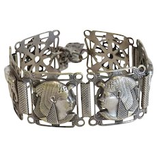 Antique Egyptian Revival silver bracelet, early 20 th century