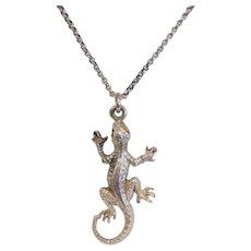 Vintage lizard pendant, silver plate, ca. 1950