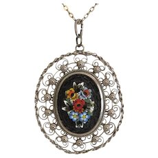 Antique Micro Mosaic silver pendant, 19th century