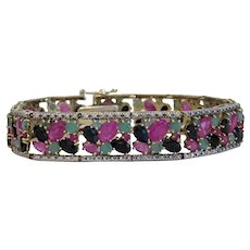 Vintage Emerald, Ruby and Sapphire bracelet,silver 925, 20th century