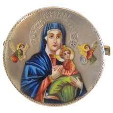 Antique enamel brooch depicting the Madonna with the Christ Child, 19th century
