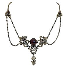 Antique Garnet silver necklace, 19th century
