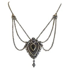 Vintage Garnet silver necklace, 20th century