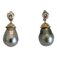Vintage South Sea pearl ear studs with Diamonds, ca. 1970