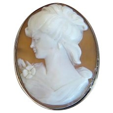 Vintage shell Cameo brooch / pendant, silver 800, ca. 1930
