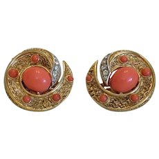 Trifari ear clips with orange glass cabochons, mid 20th century