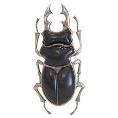 Art Deco black Bakelite insect brooch, silver 925, ca. 1930