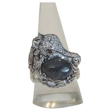 Vintage horse head ring, silver 925, 20th century