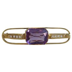 Art Deco Amethyst and Diamond brooch, 14 k yellow gold, ca. 1930