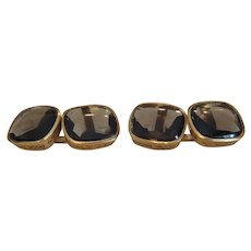 Antique Smoky Quartz cuff links, 14k yellow gold, 19th century