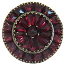 Antique Garnet brooch, silver plated, 19th century