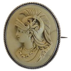 Antique Lava Cameo depicting the Goddess Minerva, 19th century