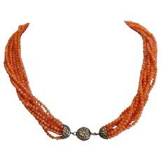 Antique orange Coral necklace, 19th century
