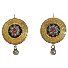 Antique Ruby and seed pearl earrings,14k yellow gold, 19th century