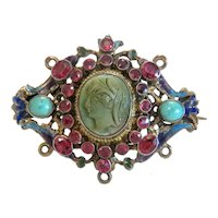 Antique Lava Cameo brooch, gilt silver, 19th century