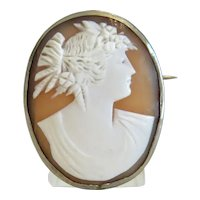 Antique Shell Cameo brooch, silver 800, 19th century
