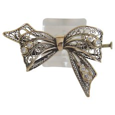 Antique Diamond brooch, 14 k yellow gold, 19th century