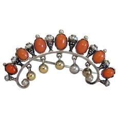 Antique Blackamoore and Coral brooch, silver 800, 19th century