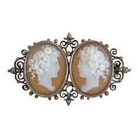 Antique Shell Cameo brooch, gilt silver, 19th century