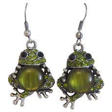 Vintage pair of green frog earrings, silver 925,20th century