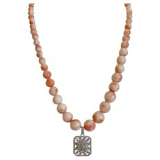 Vintage Angel Skin  Coral necklace , 20th century