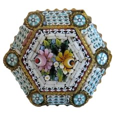 Antique Micro Mosaic flower brooch, gilt metal, 19th century
