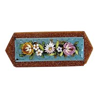 Antique Micro Mosaic flower brooch,19th century