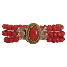 Antique red Coral bead bracelet, 19th century