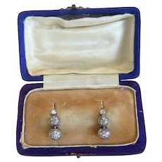 Antique Diamond Dormeuse earrings, 14 k yellow gold ,19th century