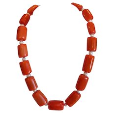 Vintage red Coral bead necklace, 20th century