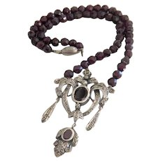 Antique Bohemian Garnet necklace, silver 925, 19th century