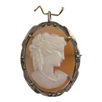 Antique Shell Cameo brooch pendant, silver, 19th century